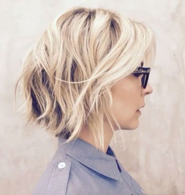 Shaggy blonde inverted bob by Riawna Capri