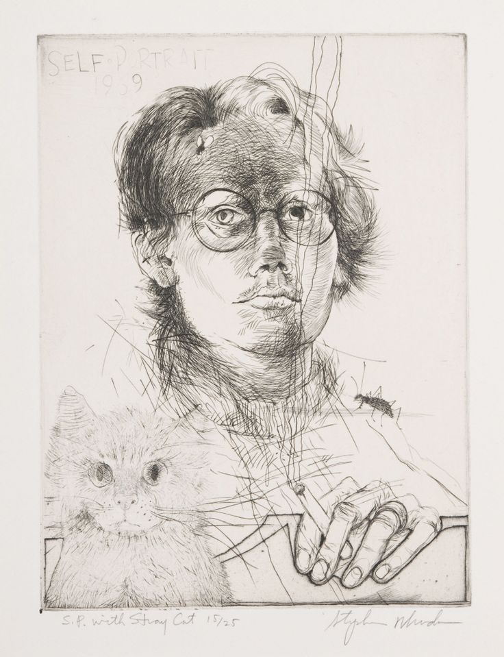 "Stephen Rhodes (American, born 1944) / ""Self Portrait with Stray Cat,"" 1969 / Engraving on paper / Des Moines Art Center Permanent Collections; Anonymous gift, 1973.6 / Photo Credit: Rich Sanders, Des Moines"