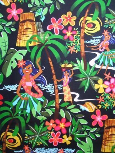 Leis Luaus and Aloha Black Tiki Polynesian Girls Alexander Henry Fabric Yard   eBay