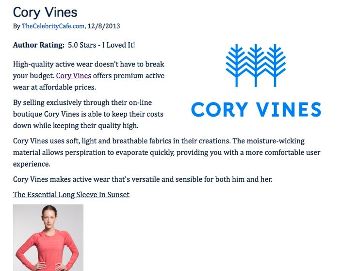 """""""Author Rating:  5.0 Stars - I Loved It! High-quality active wear doesn't have to break your budget. Cory Vines offers premium active wear at affordable prices.""""  Read more - http://thecelebritycafe.com/reviews/2013/12/cory-vines#8efbOzXRlDU5R8SB.99"""