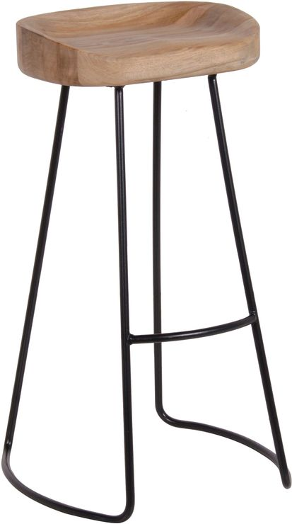 Tall Stool In Oak and Iron (Bar stool)