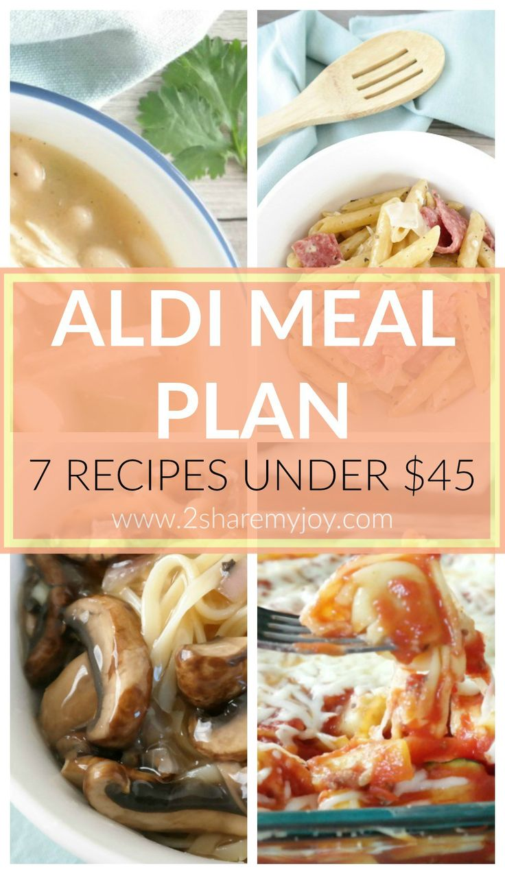 Aldi Meal Plan: 7 Aldi dinner recipes for under $45 PLUS aldi grocery list with prices. Do you love shopping at ALDI? Sometimes it is find frugal and simple recipes, your you just don't have much time to meal plan. Today I have 7 Aldi meals for under $45. You can simply print out the Aldi grocery shopping list that includes all prices. This will help you save time and energy on meal planning and money on grocery shopping.