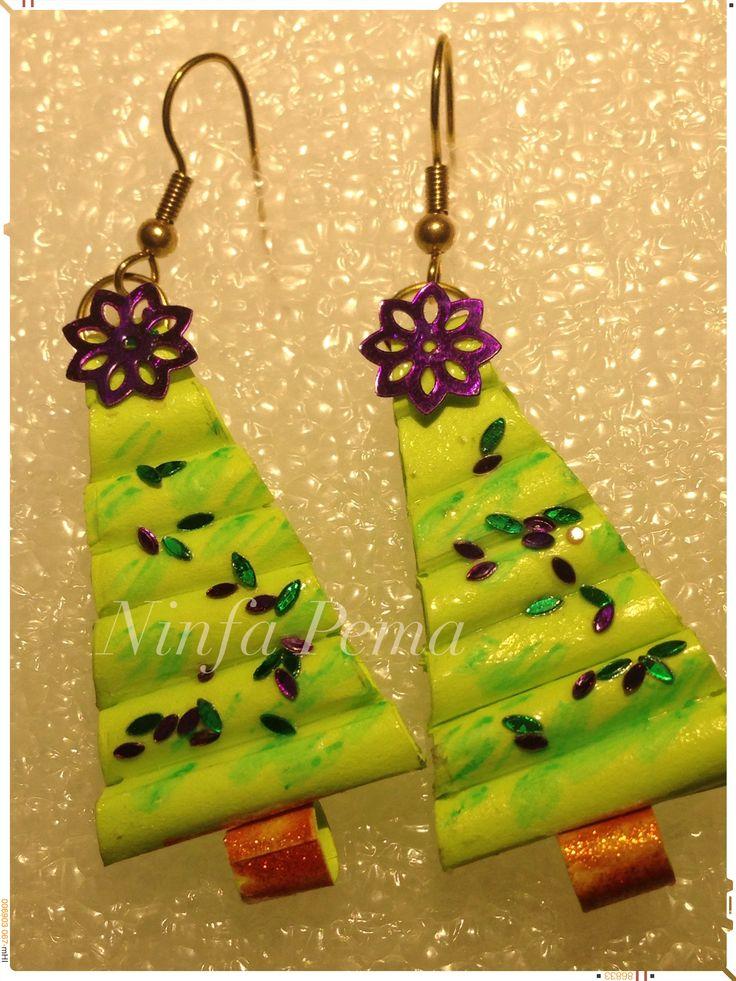 Christmas tree paper earring by Ninfa Pema.