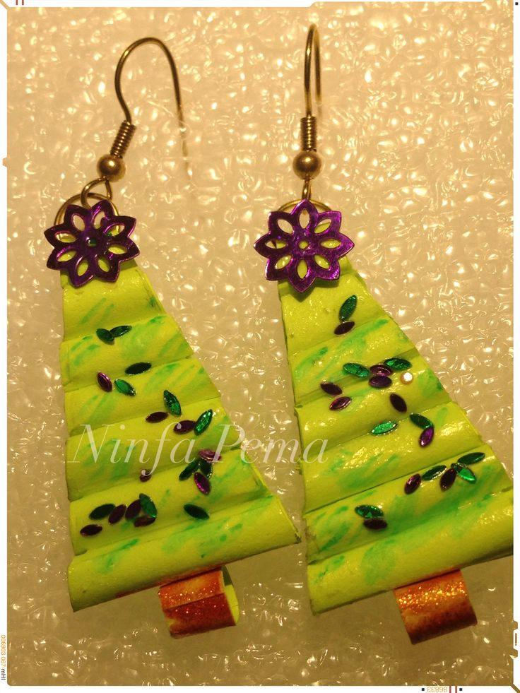 Christmas tree paper earring by Ninfa Pema.