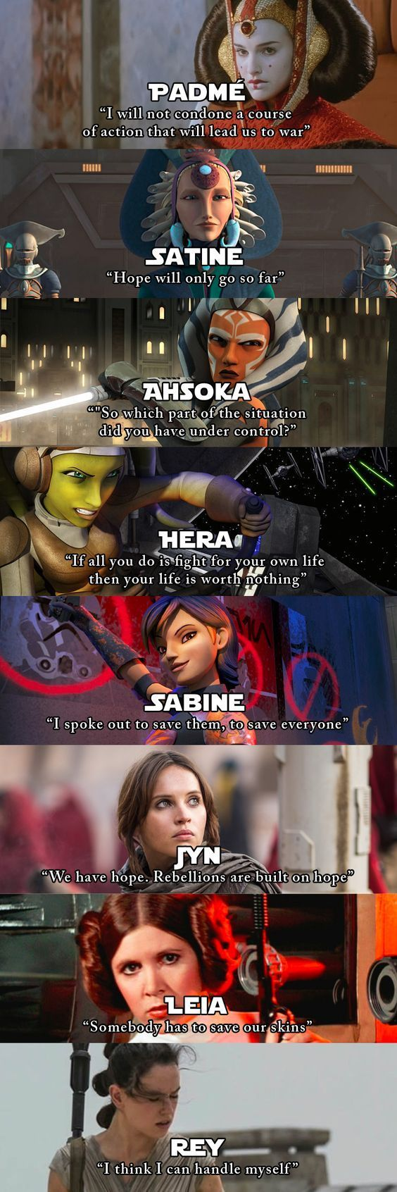 Women of Star Wars with quotes that do a good job of summing up who they are.