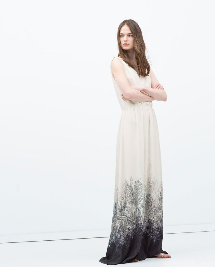 LONG SRESS WITH PRINTED HEM-Maxi-Dresses-WOMAN | ZARA United States