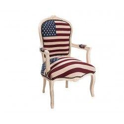Poltrona barocco Luigi XVI laccata tessuto bandiera americana USA