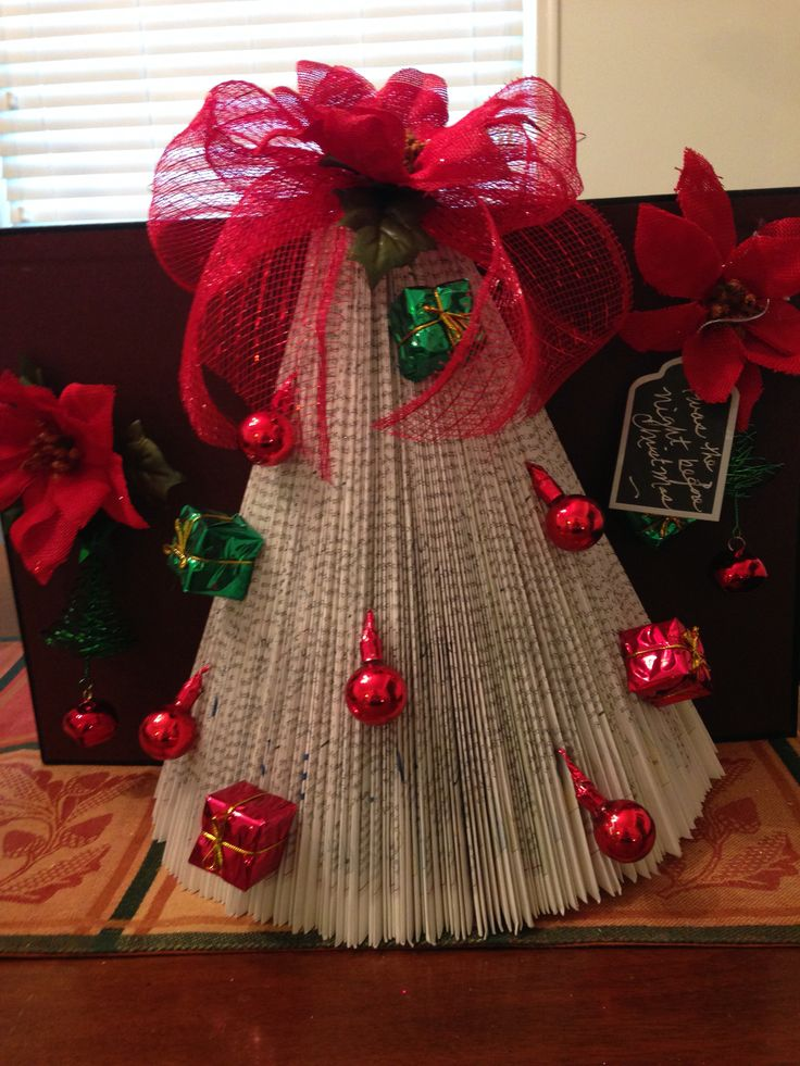 A Christmas tree folded in a Christmas book using the Christmas tree fold.