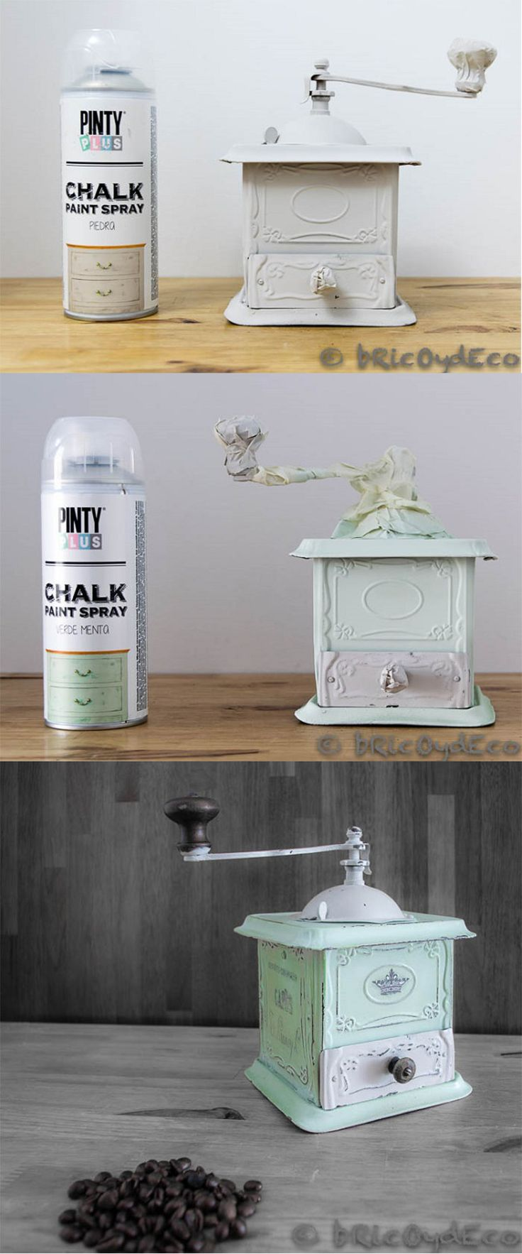 DIY of a coffe grinder with Pintyplus chalk spray paint. By @bricoydeco