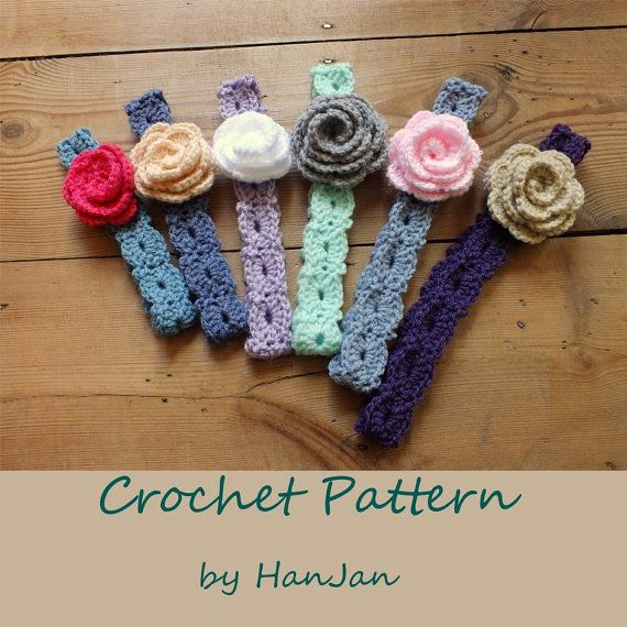 Instant Download PDF Crochet Pattern:  Flower Headbands in 6 sizes, baby to adult, US instructions,quick and easy instructions on Etsy, $4.50