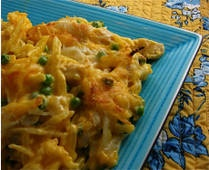 Cheesy Chicken and Potato casserole-Very tasty and very quick recipe! The only substitution I made was that I cooked chicken breasts to add to the casserole instead of using precooked chicken