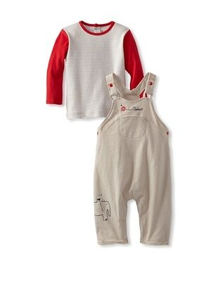 72% OFF Sucre d'Orge Baby Two Piece Overall and Top Set (Taupe)