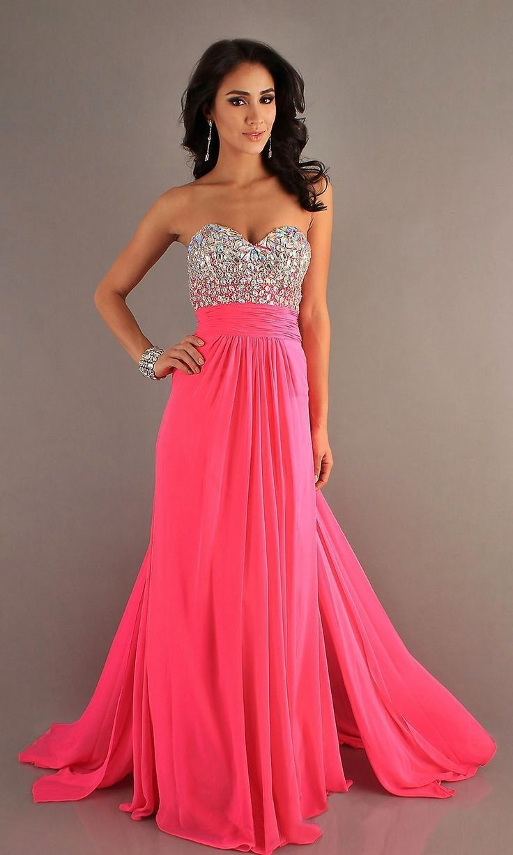 Vestidos con pedreria largos rosa