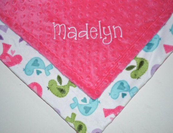 Minky Lovey Monogrammed Baby Blanket  Mini 14 by MoonbeamMinky