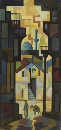 Street Scene in Baghdad (1976) - Iraqi artist Hafidh al-Droubi