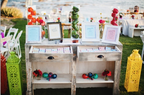 Entrance table design in vintage dresser - Courtney and Courtney - Vivid Occasions