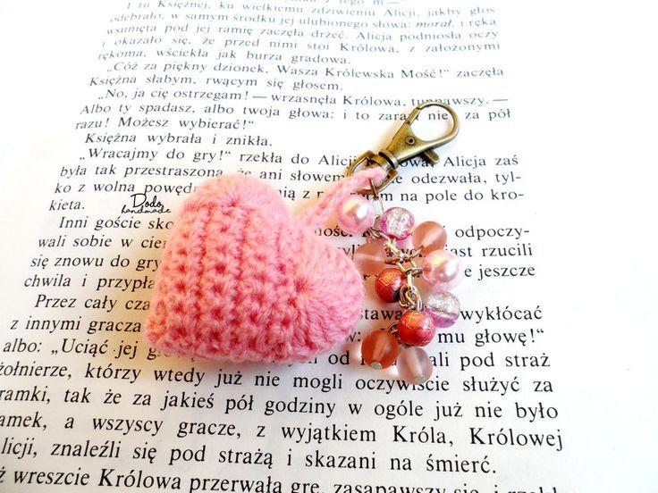 Brelok szydełkowy serduszko - DodoHandmade - Breloki do kluczy