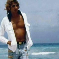 Barry Manilow on a beach in Florida.