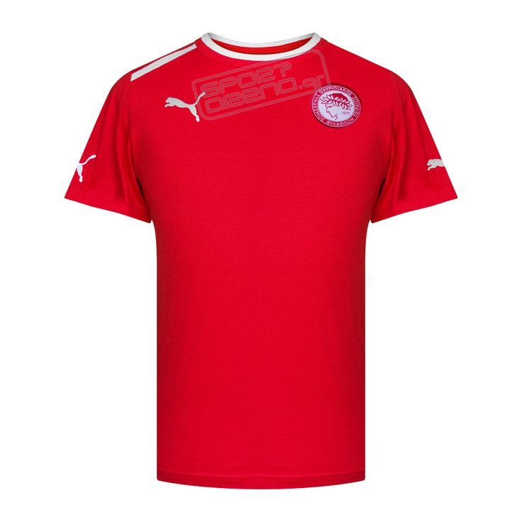 Ολυμπιακός βαμβακερό T-shirt προπόνησης Puma, κόκκινο,<font color ...