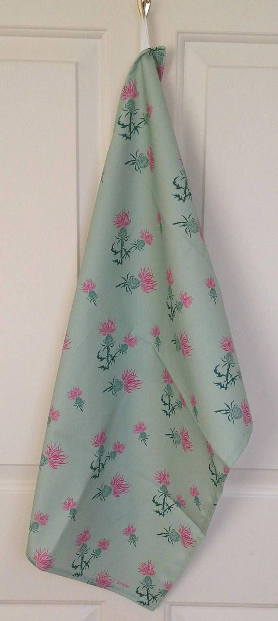 Green thistle tea towel  green thistle print  green thistle
