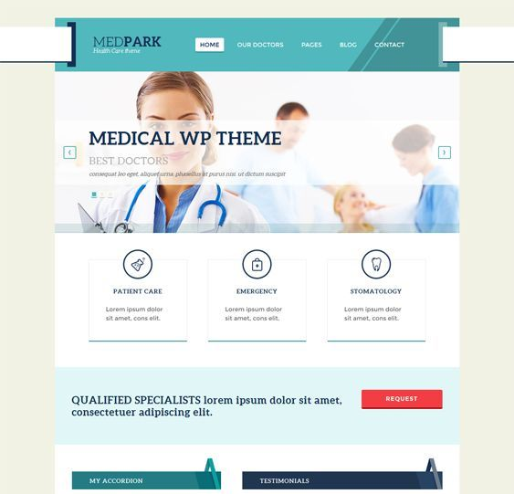 This medical WordPress theme offers a responsive layout, Google Web Fonts, social media integration, a working Ajax/PHP contact form, transition effects, cross-browser compatibility, custom widgets, a map with custom icons, and more.