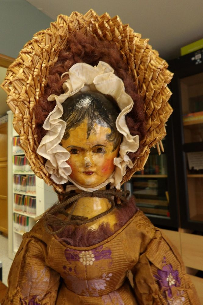 This is a fine early German Grodnertahl wooden doll from my personal collection in an unusual size. She has a finely carved face, with handpainted detailing at the edges of her hairline, and carved ears.   eBay!