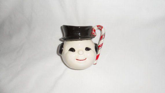 Vintage Handmade Ceramic Snowman Mug With Peppermint by BYGONERA