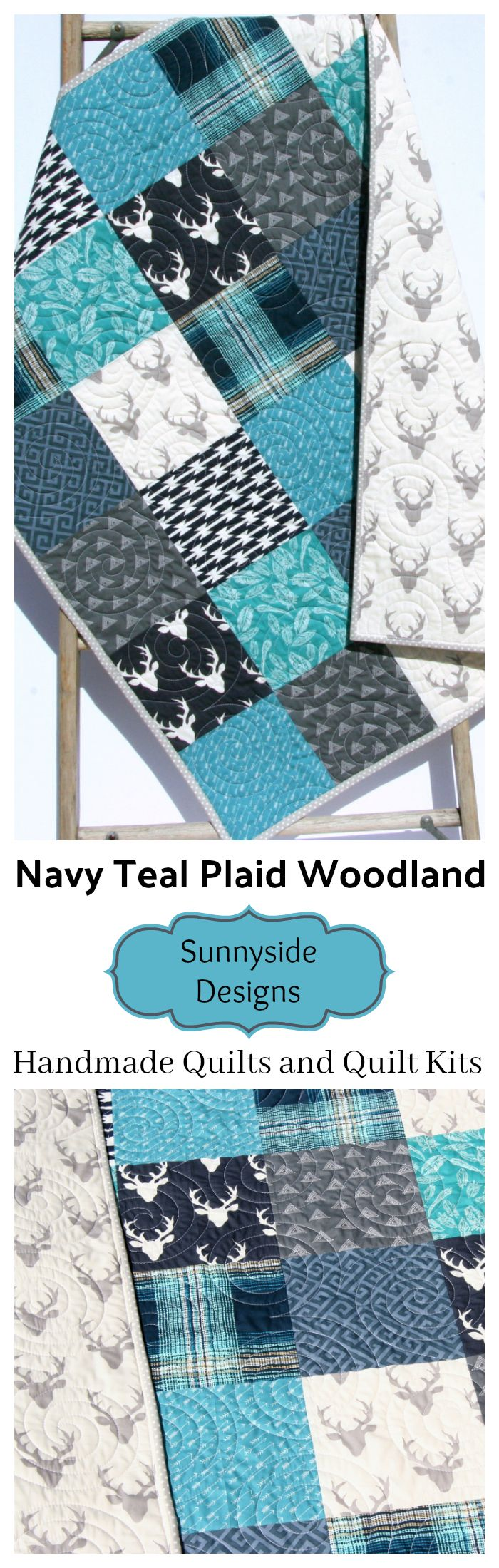 Navy Blue Plaid Baby Bedding, Baby Boy Quilt, Handmade Baby Bedding, Deer Buck Aztec Blue Buffalo Plaid  Feathers, Handmade Quilt for Sale, Teal Navy Blue Grey Gray, Throw Quilt Kit, Toddler Quilt Kit, Baby Quilt Kit, Twin Bedding Quilt Kit, Simple Easy Patchwork Quilting Project Sewing Craft Idea for Kids by Sunnyside Designs