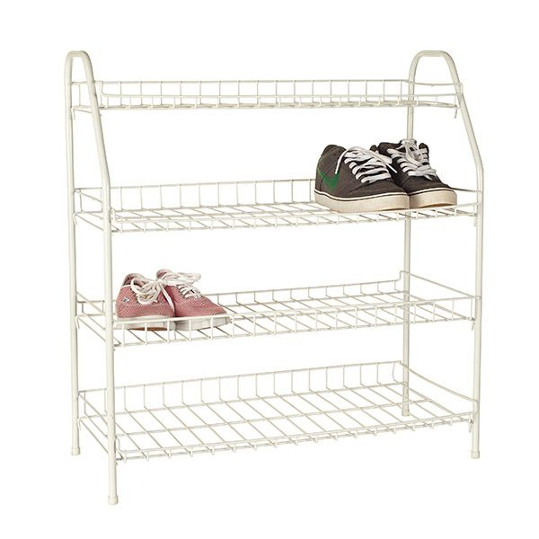 Howards Storage World Shoe Rack 4 Tier White