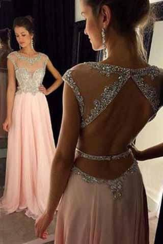 Backless Beaded Blush Pink Long Sexy Open Back Cap Sleeve Scoop Prom Dresses uk PM964