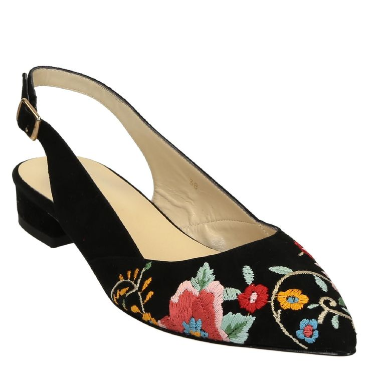 Black suede slingback sandal flower embroided - Italian Boutique €145