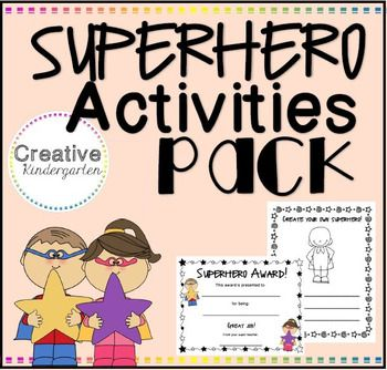 "This activity pack includes 4 different activities based on a superhero theme:1. Make your own superhero emblem with ""My superpower is"" writing prompt.2. Create your own superhero sheet.3. Make your own superhero puppet with popsicle sticks.4. 2 different superhero writing prompts for a student's writing journal.BONUS: An award certificate that you can personalize to give to each student."