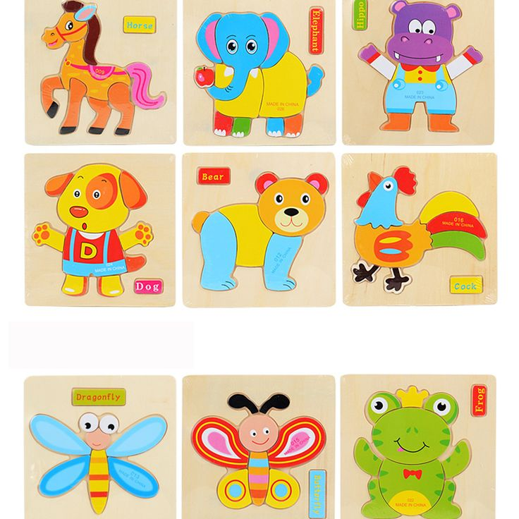 3pcs/set DIY Wooden 3D Puzzle Cartoon Toys Baby Learning Educational Puzzle Cute Cartoon Animals Toys for Children Gifts #Affiliate