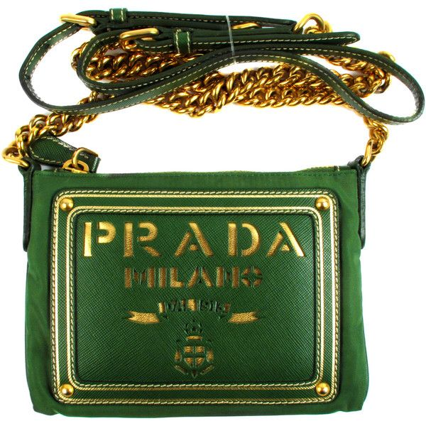 Pre-Owned Prada Crossbody Saffiano Bag - Green Leather & Tessuto... ($399) ❤ liked on Polyvore featuring bags, handbags, shoulder bags, green, leather crossbody purses, green leather handbag, chain strap shoulder bag, prada handbags and long strap purse