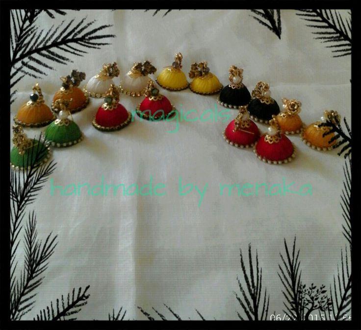 Handmade silk thread jhumkas