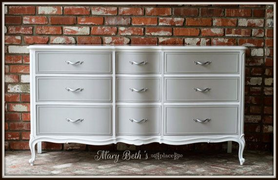 CUSTOM PAINTED Rare Vintage 9 Drawer Drexel Dresser/ Buffet/ Sideboard by ForgetMeNotsCottage, $1095