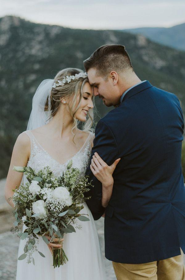 Bride and groom in mountains    #wedding #weddingideas #aislesociety #mountains #mountainwedding