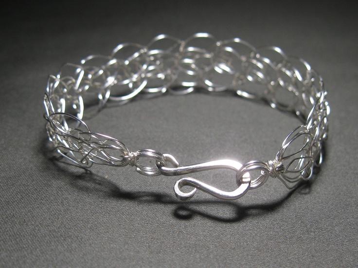 Knitting Jewellery With Wire : Sterling silver wire crocheted bracelet by jerricafields