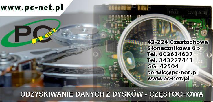 Naprawa komputerów Serwis laptopów. Odzyskiwanie danych z dysków HDD, SSD, SSHD (talerzowe, flash).  W przypadku awarii, prosimy nie próbować samemu uruchamiać żadnego darmowego oprogramowania do odzyskiwania danych. Tylko dostarczyć nośnik do naszego serwisu. Każda nieumiejętna próba odzyskania danych z nośnika może spowodować że nawet nasi technicy nie będą wstanie uratować danych. 42-224 Częstochowa Słonecznikowa 6b Tel. 602614637 serwis@pc-net.pl www.pc-net.pl