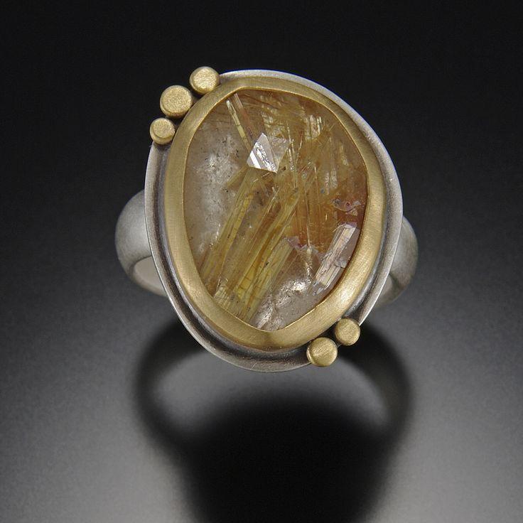 Rose Cut Rutilated Quartz Ring | Ananda Khalsa Jewelry