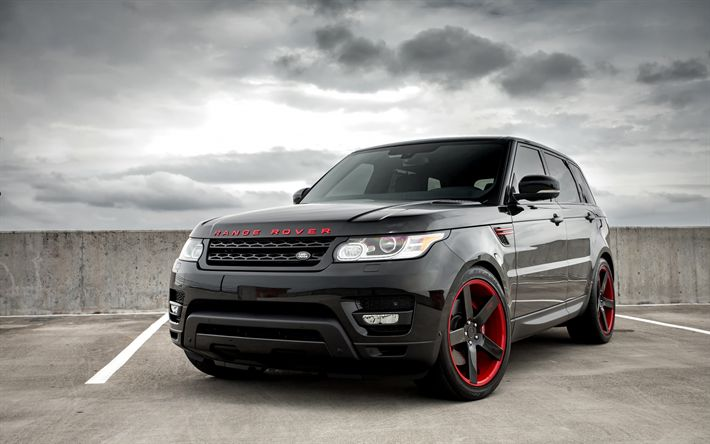 Download wallpapers Land Rover, Range Rover Sport, 2017, black SUV, tuning, black red wheels, Niche wheels