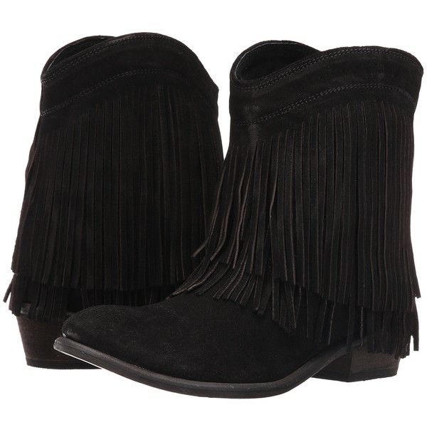 Roper Fringe Shorty (Black Suede) Cowboy Boots ($139) ❤ liked on Polyvore featuring shoes, boots, ankle boots, suede ankle boots, fringe cowboy boots, cowboy boots, black cowboy boots and short cowboy boots