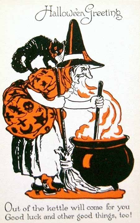 halloween post card of black orange witch cauldron black cat on her shoulders - Halloween History Witches