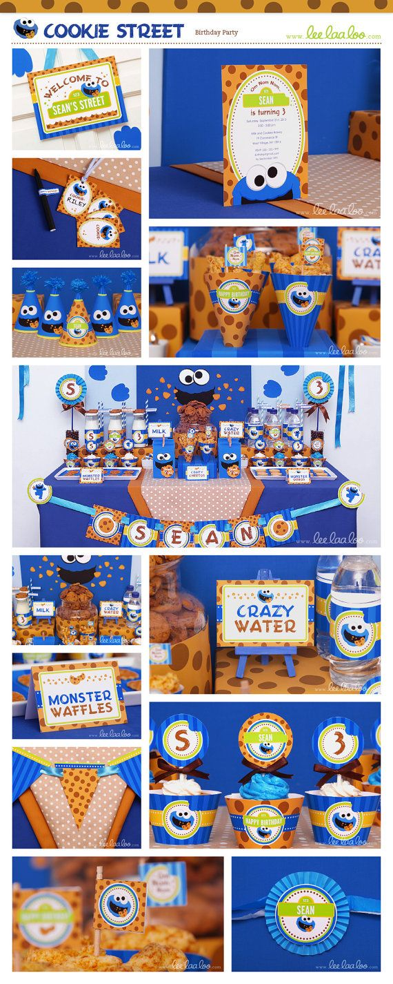 Cookie Street Birthday Party Package Collection Set Mega Personalized Printable Design by leelaaloo.com #leelaaloo #birthday #party