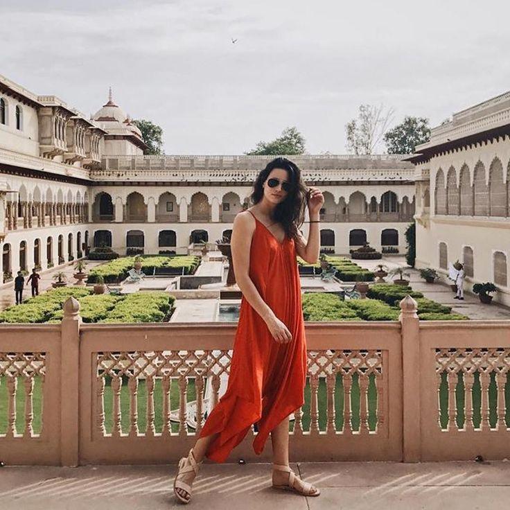 Who loves to travel?  Gorgeous Emily rocking That Zebra Scarlet #jumpsuit through India. Stunning  via @ebrzoja #lovetravel #summertime #india