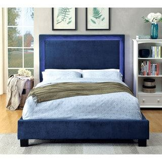 Shop for Furniture of America Winona LED Light Trim Navy Flannelette Platform Bed. Get free shipping at Overstock.com - Your Online Furniture Outlet Store! Get 5% in rewards with Club O! - 19305308