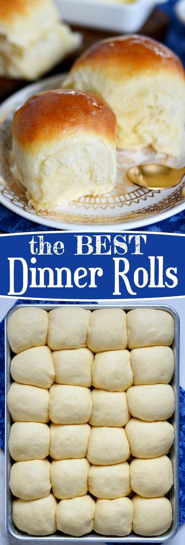 Light, fluffy, buttery dinner rolls are impossible to resist. Homemade with just a handful of simple ingredients, the BEST Dinner Rolls can you be on your table in a jiffy. These easy dinner rolls really are the perfect addition to any meal! // Mom On Timeout #dinner #rolls #bread #baking #yeast #quick #easy #recipe #mixer #Easter #Christmas #Thanksgiving