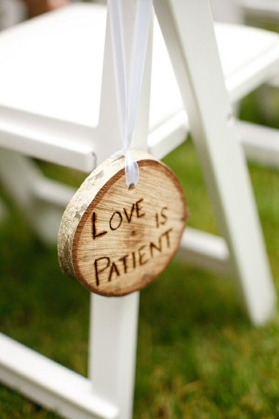 Each verse of 1 Corinthians 13 as pew or aisle decor. just not wood maybe frames with ribbon. THIS IS ADORABLE!!