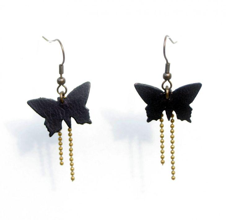 Boucles d'oreilles papillon en cuir et chaine cuivre coloris MARRON : Boucles d'oreille par one-for-you-bijoux