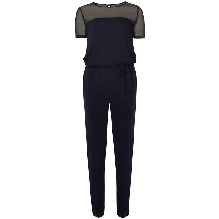Petite navy mesh jumpsuit with short sleeves. Inside leg length approx. 69cm.